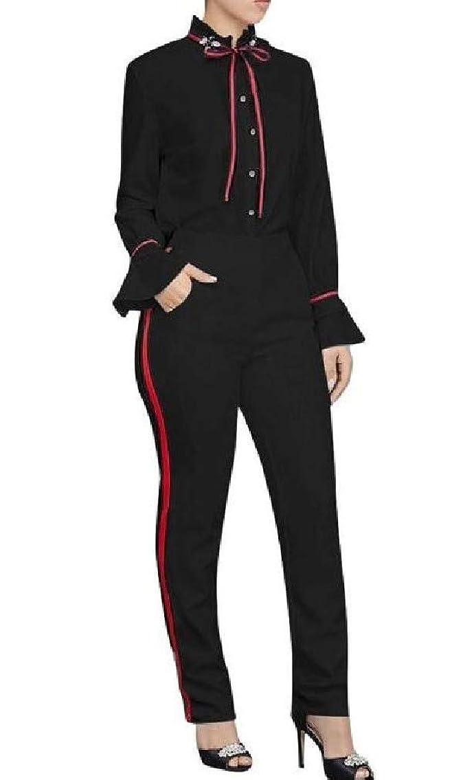 ペスト競う傾斜女性のストライプは、オフィスのポケット付きのズボンのジャケットとズボンのセット