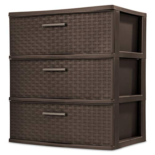 Sterilite 25306P01 3 Drawer Wide Weave Tower, Espresso Frame & Drawers with Driftwood Handles, 2-Pack