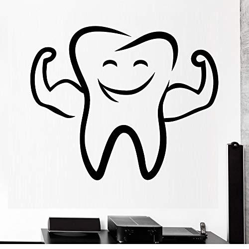 Dent dessin animé sourire vinyle stickers muraux dentiste stomatologie clinique paroi dentaire décoration de la fenêtre autocollants Home Decor Kids Room 51x42 cm