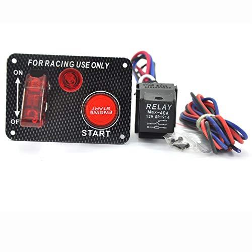 Kohlefaser-Rennwagen 12V Zündschalter Panel Motorstart-Taster Rote LED Toggle, 12V Auto-Zündschalter Motorstarttaster 3 Toggle Racing Panel