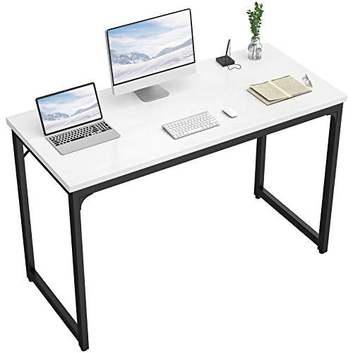 """Foxemart Computer Desk 47 Inch Modern Sturdy Office Desk 47"""" PC Laptop Notebook Study Writing Table for Home Workstations, White"""