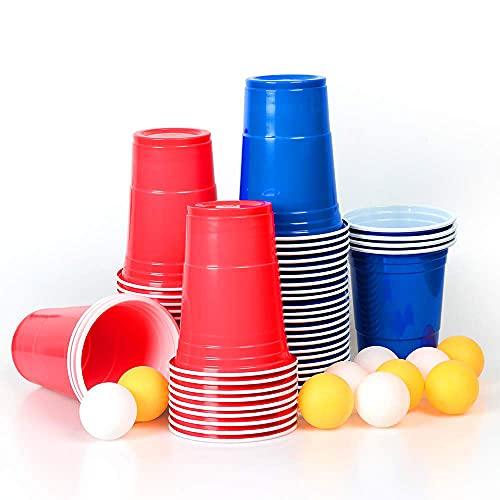 MOZOOSON 100 Reutilizable Vasos 16oz Beer Pong Copas– Vaso para Fiesta Celebración Ideal para...