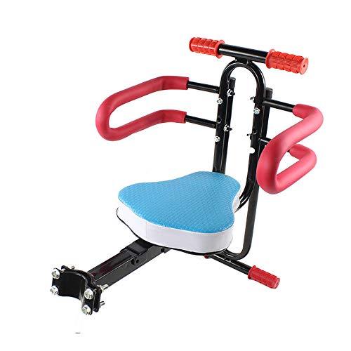 Mdcgok Kindersitz Fahrrad vorne Elektrofahrrad Kindersitz vorne Mountainbike Fahrrad Kindersitz Fester Fahrradsicherheit Vordersitz-Rosa pfirsichförmiges festes Handlaufzaunpedal