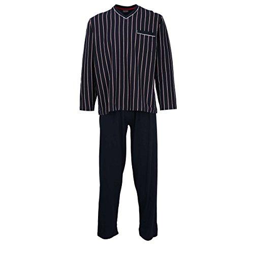 Ceceba Herren Pyjama, Schlafanzug, Oberteil und Hose - Langarm, Baumwolle, Jersey, Navy, gestreift 26