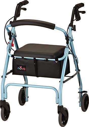 NOVA GetGo Classic - Andador de ruedas (tamaño estándar), para altura de 5 pies 4 pulgadas - 6 pies 1 pulgadas, altura del asiento es de 22.25 pulgadas, color azul cielo 🔥