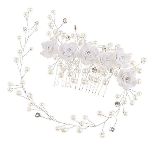 Strass Haarkamm Haarschmuck Hochzeit Zubehör Haarspangen Haarklammern für Brautfrisur Kommunion Konfirmation Taufe Party - Rose Blumen