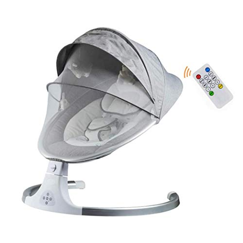 KUANDARM Baby Intelligent Timing Swing Chair Bouncer Bluetooth Remote Control With Music Toy Mosquito Net, Suitable From Birth, Gray