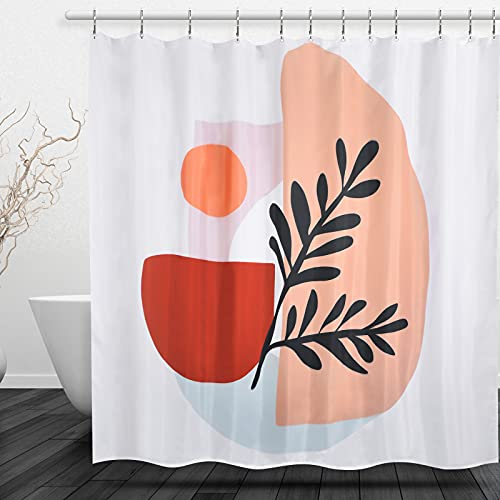 YANYC Abstract Fabric Shower Curtains,Aesthetic Contemporary Minimalist Geometric Patterns Style Shower Curtain,Boho Cute Shower Curtain Set with 12 Stainless Steel Hooks(Beige,72 X 72Inch)