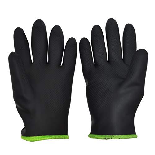 Hochtemperaturbeständige Handschuhe Kochhandschuhe, wasserdichte und spritzhemmende Handschuhe, fünf Finger flexibel, schwarz gelb LJJOZ (Color : Black, Size : 24cm)