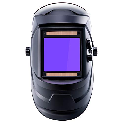 Large Viewing Screen Solar Powered Auto Darkening Welding Helmet, 3.97