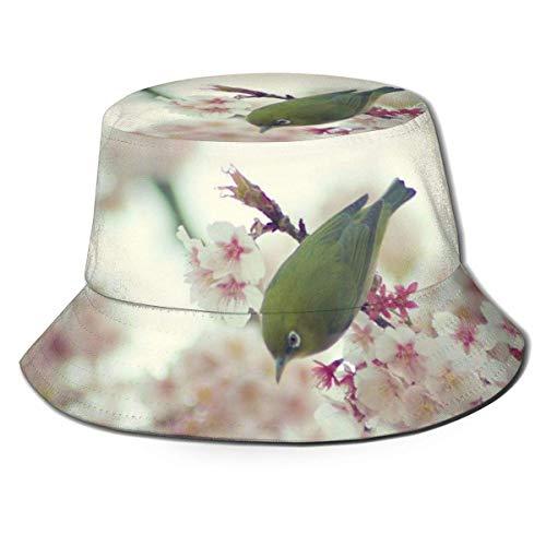 Out GuoAiYunShop - Sombrero de pescador para hombre con diseño de pájaro y melocotón