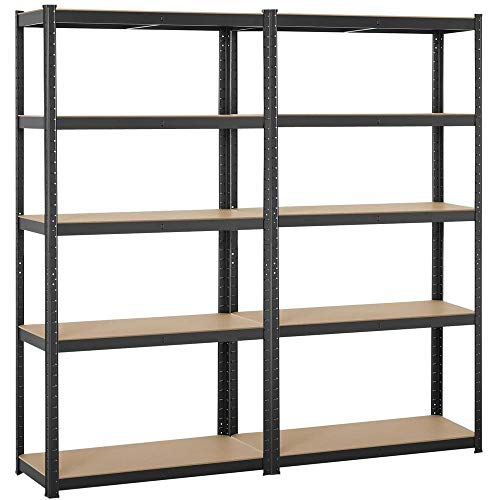 Topeakmart Adjustable 5-Shelf Garage Shelves Metal Storage Rack Shelving Unit Display Rack 71in Height, 2 Packs