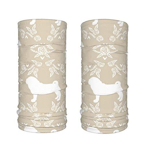 Calentador de cuello para hombre y mujer, diseño de raza de perro de carlino (2 paquetes)