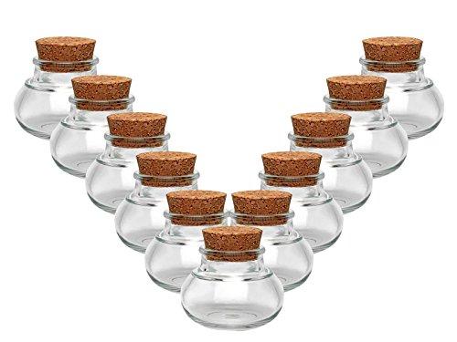 Kruidenpotjes, set met kurk, 10-delig, inhoud 40 ml, mini buikvormig rond, hoogwaardig glas, glazen potje, ideaal zout, peper, zonnebloempitten, korfpitten, Kandis bonbons kurkglaasjes