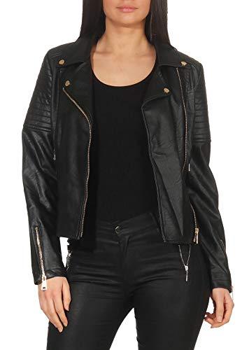 Malito Damen Jacke | Kunstleder Jacke | Jacke mit Zipper | lässige Bikerjacke - Faux Leather 5177 (schwarz, S)