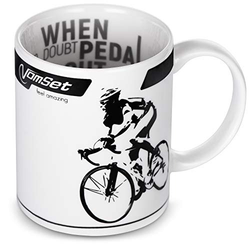 Coffee, Tea & Milk Mug for Cycling and Triathlon Fans - Nice Ceramic Cup with a Cyclist - Best Gift Featuring a Bicycle for Athletes, Bike Lovers, and Riders
