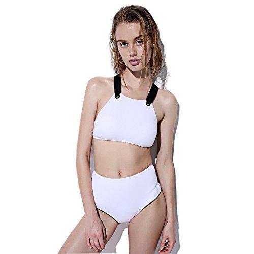 Unbekannt LINGZHIGAN Europa und die Vereinigten Staaten war dünne hohe Taille High-Neck Schürze Bikini Beach Spa konservativen Split Badeanzug weiblich (Farbe : Weiß, größe : S)