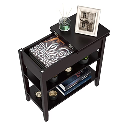 Narrow End Table with Storage, Flip Top Side Table with Shelves, Wood Nightstand Sofa Table for Bedroom, Living Room, Dark Brown