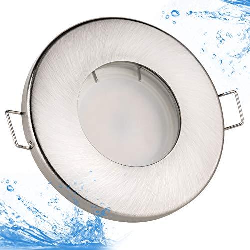 12 volt badkamer inbouwspot IP65 Kleur: geborsteld roestvrij staal 12V DC 4,5 watt LED-lamp 380 lumen warm wit lamp vervangbaar voor gebruik wordt een LED-transformator nodig