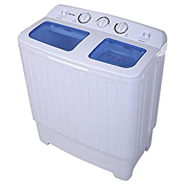 Compact Twin Tub Washing Machine, 17.6 lbs Semi-Automatic Washer & Spinner Combo w/ Built-in Drain Hose, Ideal for… 1 ❗This Product is Not for Sale in California❗ Dear customer, if the receiver's address is in California, please don't buy this washing machine. Thank you! 【2-in-1 Washing Machine】This washing machine is equipped with 11-lb washing capacity and 6.6-lb spinner dry capacity. And it only takes 15mins wash and 5mins dry. 【Cost-effective Semi-automatic】This semi-automatic washing machine is more cost-effective than a full-automatic one. And its detailed washing technic makes your clothes more clean.