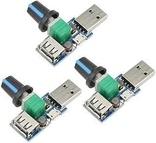 XLX 3PCS 5W Mini USB Fan Air Volume Speed Stepless Governor Module USB Speed Controller DC 5V USB Male Input DC4-12V to 2....