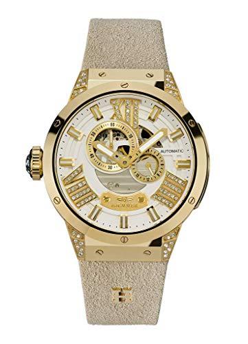 HÆMMER Delight Goldene Damenuhr aus Edelstahl | Damen-Uhr mit Armband aus Kalb-Nubukleder | Veredeltes Edelstahlgehäuse mit 112 Kristallen | Kratzfestes Saphirglas