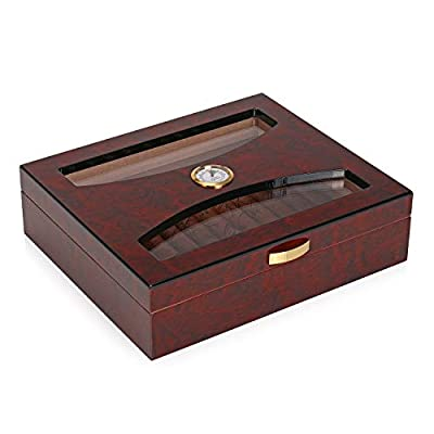Woodronic Handmade Cigar Humidor for 25 Counts, Glass Top Cigar Box Set with Hygrometer and Humidifier (Bubinga)