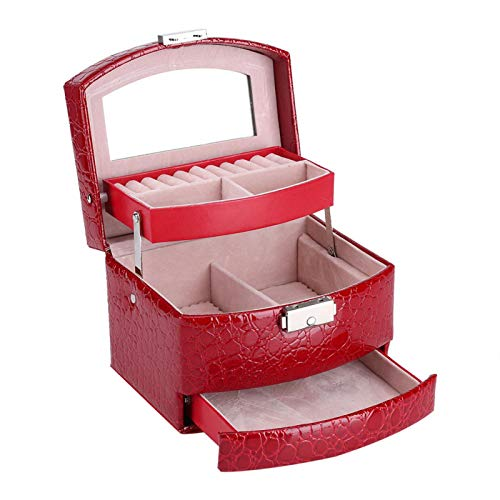 Joyero de Cuero de PU,3 Capas Compartimento Collar Anillo Pendientes Organizador Estuche de Almacenamiento con Cerradura con cajones de Almacenamiento de Espejo para Dama Regalo Suministros(Rojo)