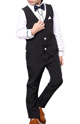 CherryRed(チェリーレッド) (チェリーレッド)CherryRed男の子フォーマルシャツベストパンツベルト5ピースはブラックに設定ネクタイ90 サイズ7#(90センチメートル) ブラック