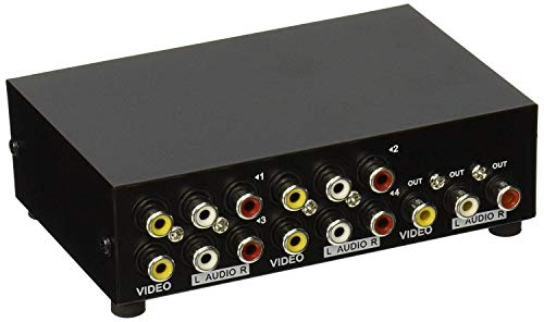 AuviPal 4-Way RCA Switcher 4 in 1 Out Composite Video L/R Stereo Audio AV Selector Box for DVD VCR VHS/AV Receiver/ PS2/ Nintendo Game Consoles
