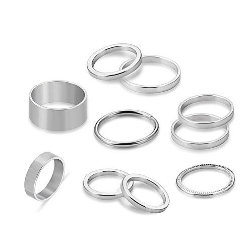 CAOLATOR.10 Unidades Anillos Set señoras señores Ring Moda Plata Ring aleación Dedo Tip Ring Joyas