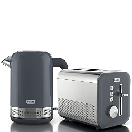 Breville Grey Kettle & Toaster Set | High Gloss Collection | with 1.7L Fast-Boil 3KW Kettle and 2-Slice Toaster featuring High Lift | Grey & Stainless Steel [VKT154 + VTT968]