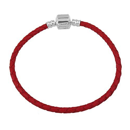 Pulsera Brazalete, Joyeria Regalo, Red Genuine Leather 3MM Charm Bracelets For Women Men Vintage Beaded Braided Bracelets Bangles European 17cm