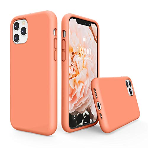 SURPHY Silicone Case Compatible with iPhone 11 Pro Case 5.8 inches, Liquid Silicone Full Body Thickening Design Phone Case (with Microfiber Lining) for 11 Pro 5.8' 2019 (Peach)