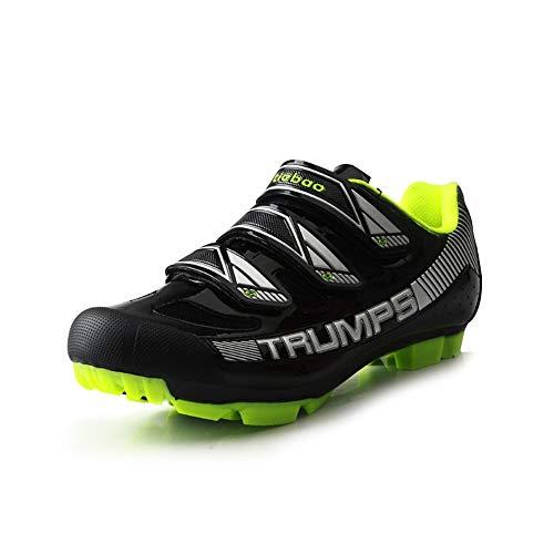 BETOOSEN MTB Cycling Shoe, Mens Mountain Bike Shoe - SPD Cleat Compatible Professional Self-Locking (Black, 9 M US Men)