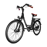 Heybike Cityscape Electric Bike 350W Electric City Cruiser Bicycle-Up to 40 Miles- Removable Battery, Shimano 7-Speed and Dual Shock Absorber, 26' Electric Commuter Bike for Adults (Black)