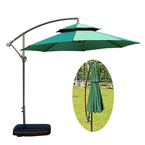 LDJ Sombrilla Exterior con Manivela, 2.7m Parasol Sombra Playa Protección UV Parasol Excéntrico Portátil Mercado Mesa Paraguas Jardines, Patios Terrazas, Cafetería