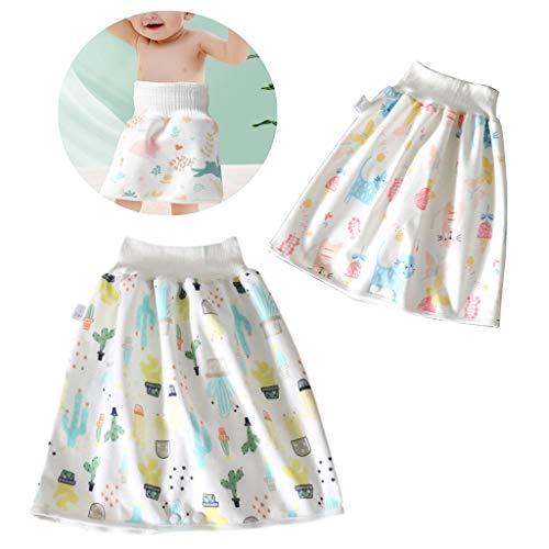 Panthem - Pack de 2 faldas para bebé, lavables y resistentes al agua, 2 en 1, absorbentes, cómodas, con cintura alta para un buen sueño
