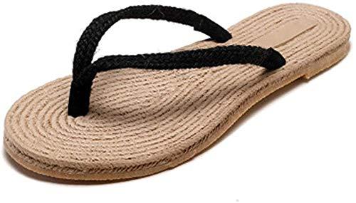 Pantuflas de Punta Abierta, Pantuflas de Paja de Estilo Moderno, Chanclas de Playa, Sandalias y Pantuflas Casuales para Mujer, Pantuflas Planas de Lino Simples, Lindas Pantuflas para Damas
