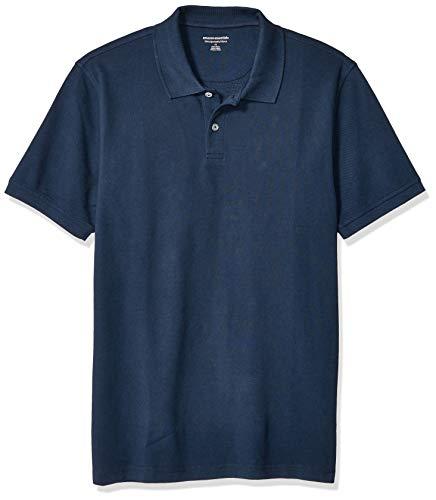 Essentials Men's Slim-Fit Cotton Pique Polo Shirt, Dark Navy, mediano