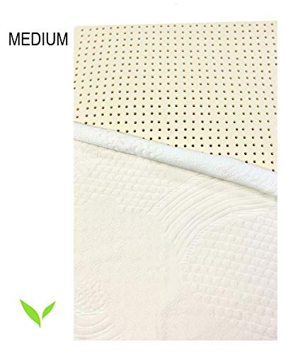Pure Organic Latex Mattress Topper Queen Size 2 Inch Medium Firm Covered in Strong Premium...