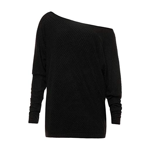 Soluo Women Off Shoulder Knit Jumper Loose Fit Lightweight Pullover Sweater Batwing Knit Tops Oversized Tunics - black - X-Large