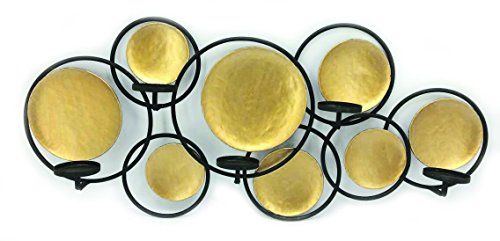 "Home Source 400-35547 Wall Decor Candle Holder, 36"" x 5"" x 16"", Gold"