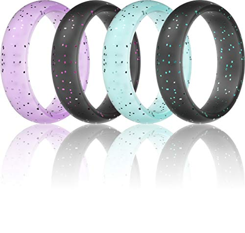 ThunderFit Silicone Rings Wedding Bands for Women - 8 Rings / 4 Rings - 5.5mm Wide - 2mm Thick 9.5 - 10 (19.8mm)
