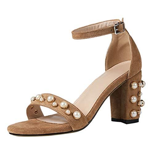 Dorical Damen Riemchenpumps Perle Sandaletten High Heels Blockabsatz Runder Toe Sandalen Schnalle Abend Party Freizeit Hochzeit Sommer Schuhe für Frauen(Gelb,39 EU)