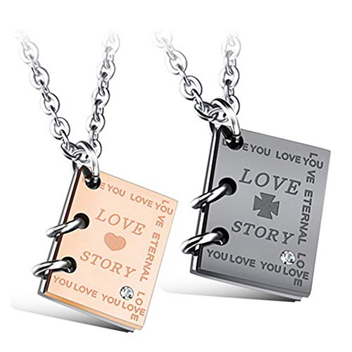 Nrpfell Love Story Book Titanium Steel Couple Necklace, a Set of 2 Necklaces for Male and Female Friends