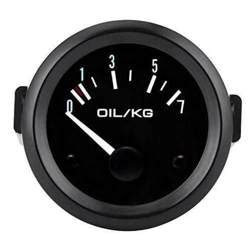 Qiilu Medidor de presión de aceite , medidor de presión de aceite universal 12 V 0-7 kg / cm² Instrumento de coche de 52 mm de diámetro con sensor de luz LED blanca