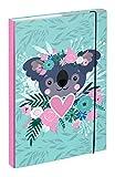 Baagl Cartella portadocumenti per la scuola A4 – Cartellina per bambini con elastico e alette interne, raccoglitore con elastico per ragazze (Koala)