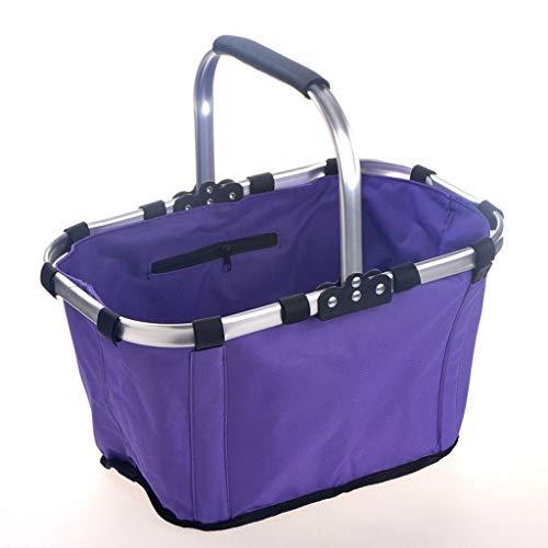 NYKK Brotkästen Warenkorb im Freien beweglichen Picknick-Korb Supermarkt Einkaufswagen Folding Einkaufswagen Grocery Einkaufswagen Aufbewahrungskorb (Color : Purple)