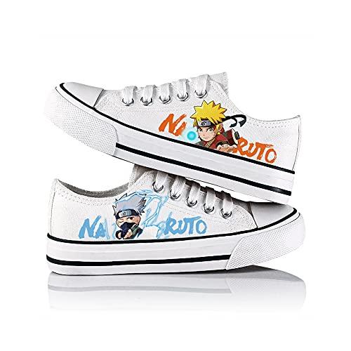 JPTYJ Naruto Hatake Kakashi Zapatos de Lona Unisex Zapatillas Altas Zapatos con Cordones de Anime A-39